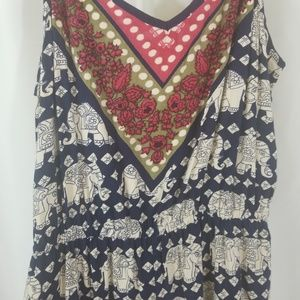 NWT Angie Elephant and batik romper with pockets